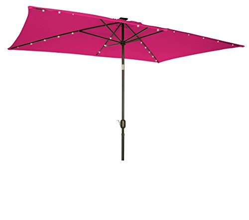 10' Rectangular Rose - Trademark Innovations Rectangular Solar Powered LED Lighted Patio Umbrella - 10' x 6.5' - (Pink)