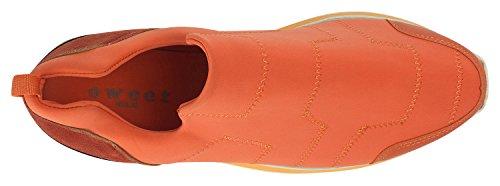 AnnaKastle Womens Stretch Neoprene Low-Top Sneaker Comfort Slip Ons Orange