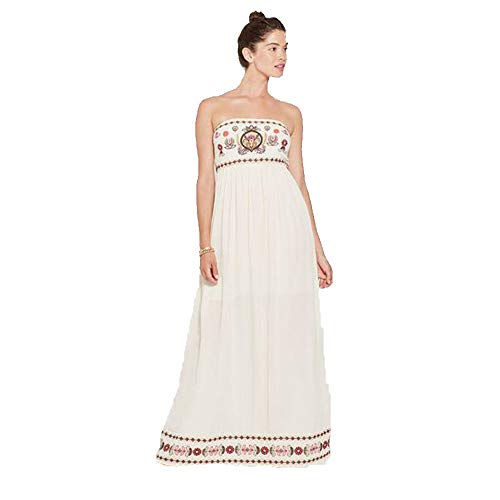 Xhilaration Women's Floral Strapless Embroidered Maxi Dress -Light Sand- ()