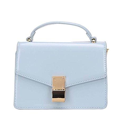 Bolsa Retro Bandolera Mujer Paquete Diagonal Paquete Cuadrado Pequeño Color Sólido Salvaje Bolsos De La PU Aqua