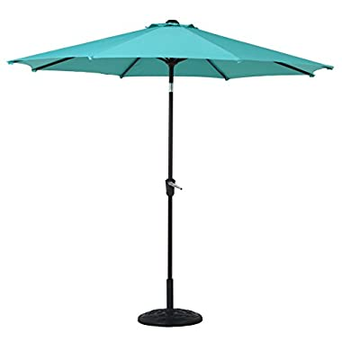 Grand patio 9FT, 8 Ribs Aluminum Patio Umbrella with Auto Crank and Push Button Tilt, UV Protective Beach Umbrella, Powder Coated Outdoor Umbrella, Blue
