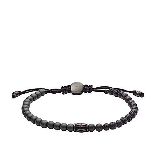 Fossil Men's Hematite and Black Lava Stone Bracelet, One Size (Bracelet Fossil For Man)