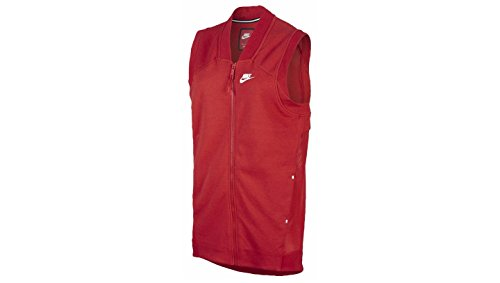 NIKE Women's Tech Fleece Mesh Cocoon Sport Casual Vest-Light Crimson-XS