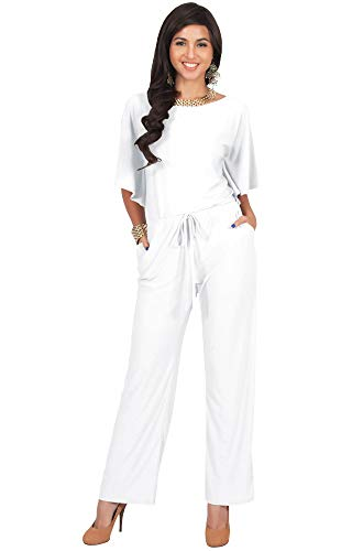 KOH KOH Womens Short Sleeve Long Pants One Shoulder Cocktail Casual One Piece Pockets Jumpsuit Jumpsuits Pant Suit Suits Romper Rompers Playsuit Playsuits, Ivory White L ()