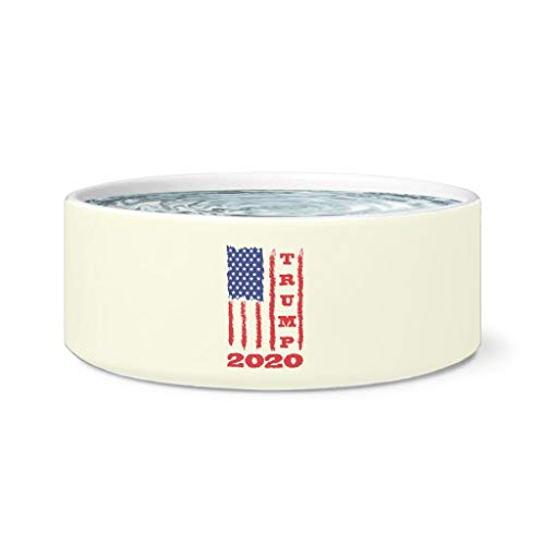 Weezag Trump 2020 USA Flag President Pet Dog Bowl, Gifts for Republicans Veterans Conservatives
