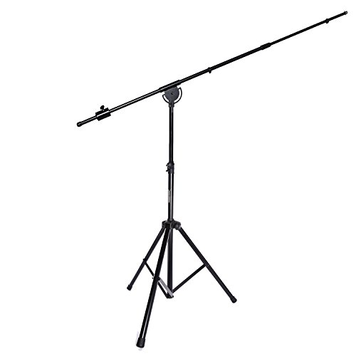"(LyxPro SMT-1 Professional Microphone Stand Heavy Duty 93"" Studio Overhead Boom Stand 76"" Extra Long Telescoping Arm Mount, Foldable Tripod Legs & Adjustable)"