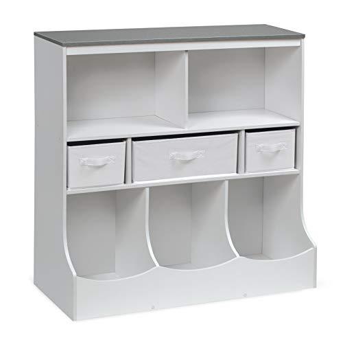 Combo Bin Storage Unit with Three Baskets – Solid White/Woodgrain Gray