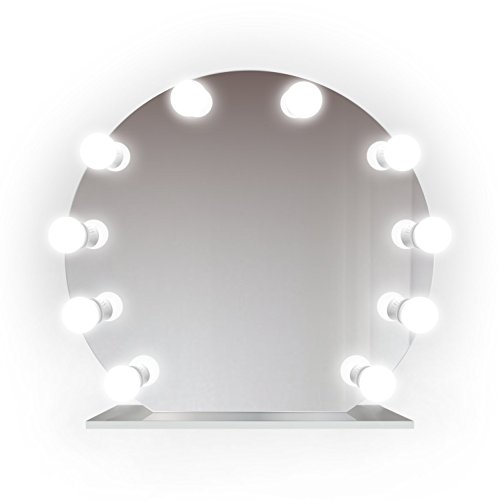 Krugg 27 Inch Rounded Lighted Hollywood Vanity Mirror | LED All Mirror - Makeup Mirror | Table Top Or Wall Mount | Plug-in