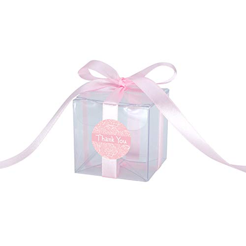 Gechtas 20Pcs PET Crystal Clear Cube Favor Boxes, 2
