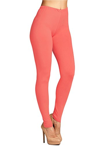 Leggings Mania Women's Solid Color Full Length High Waist Leggings, Coral, One Size - The Color Coral
