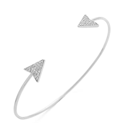 JSPOYOU Fashion Womens Alloy Simple Geometric Triangle Diamond Bracelet Fine Opening Bracelet (Silver)