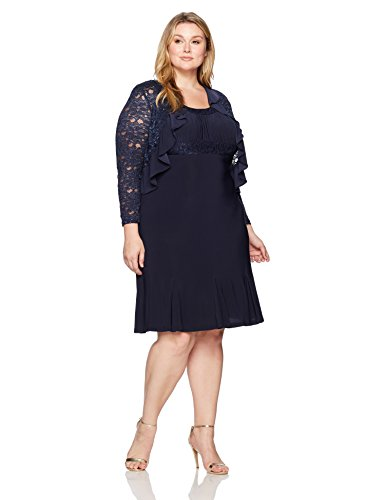 R&M Richards Women's Plus Size Two PCE Ruffle Jacket Over a Solid Dress, Navy, 20W