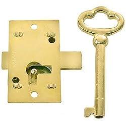 L-1B SMALL GRANDFATHER CLOCK DOOR FLUSH MOUNT CABINET DOOR LOCK OR & SKELETON KEY BRASS PLATED STEEL