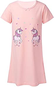 Jizyo Kids Girls Summer Cotton Nightgowns Short Sleeve Horse Cartoon Print Pajamas Dress Casual Soft Breathabl