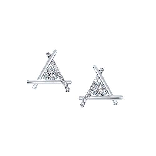 (1/10ct Round White Diamond 925 Sterling Silver Triangle Stud Earrings For Women)