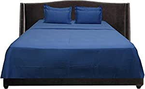 Brightlinen Medium Blue Emperor (215 X 215 Cm) Sheet Set Solid(pocket Size: 22 Cm) 6pcs
