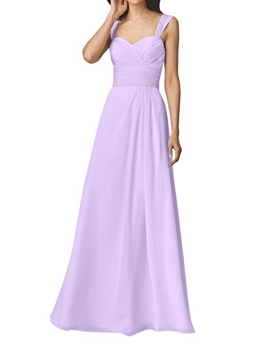 Herzausschnitt Chiffon Partykleider mia Einfach Lilac La Festlichkleider Langes Abendkleider Brau Rock Linie A mit Brautjungfernkleider qOAYSFY