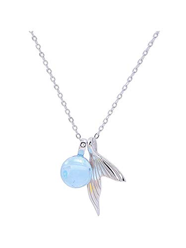 - X-W-J Pendant Necklace For Women Girls Sterling Silver Mermaid Tear Tail Blue Foam Light Blue Personality Exquisite Simple Romantic