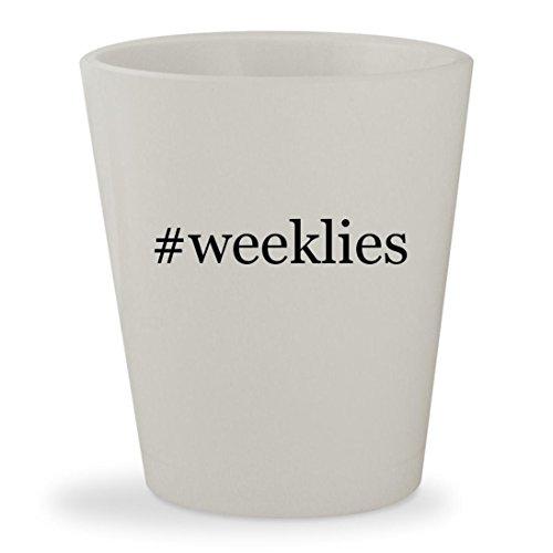 C # Pop Up Calendar - #weeklies - White Hashtag Ceramic 1.5oz Shot Glass