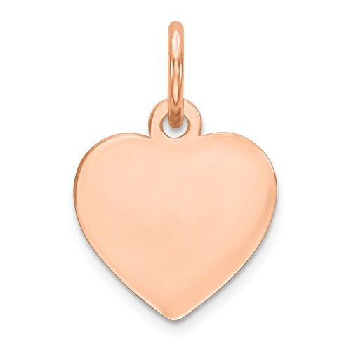 (Nina's Jewelry Box 14k Rose Gold Plain .011 Gauge Engravable Heart Disc Charm )