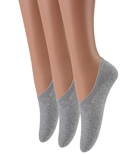 LAISOR Cotton No Show Sock Women's invisible Non Slip Flat Boat Liner Socks (Pack of 3-12) (D2-3 Pairs ()