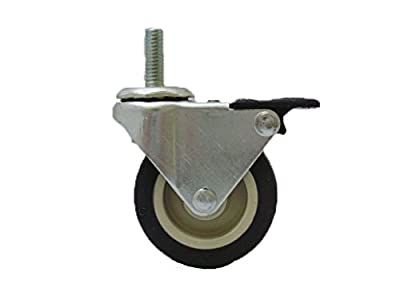 "3"" Swivel Caster w/ Tech Lock Brake, 3/8 - 16 X 1 1/2 Threaded Stem"