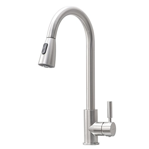 Comllen Best Commercial Stainless Steel Single Handle Single Hole Brushed Nickel Pull Out Spray Kitchen Faucet, Pull Down Kitchen Sink (Brushed Steel Handles)