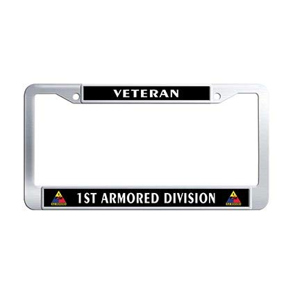 Dongsmer 1st Armored Division Veteran Car License Plate Frame Holder Stainless Steel Car Tag ()