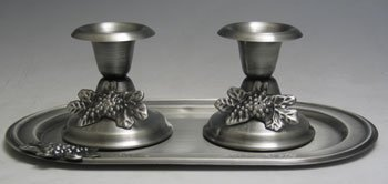 1 X Judaica Shabbat Pewter Candlesticks with Tray