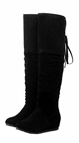 Closed Toe Pointed Heels PU AgeeMi Zipper Women's Shoes Casual Boots Low Black wFqxHqUY4