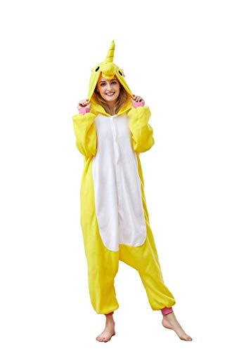OLadydress Unisex Unicorn Costumes Pyjamas, Adult Women Men Animal Cosplay Onesie Golden Small -
