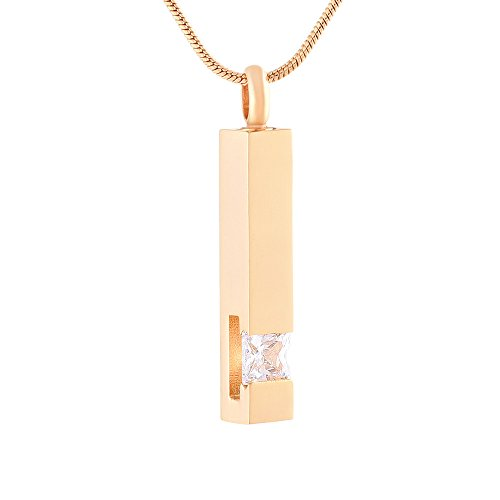 Engravable Gold Pendants - EternityMemory Crystal Bar Urn Pendant Necklace-Engravable Gold Stainless Steel Cremation Jewelry Out Of The Ashes (White Stone)