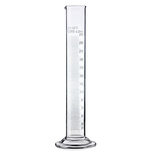 Premium Lab Glass Graduated Cylinder 250 ml - Borosilicate 250ml Lab Cylinder