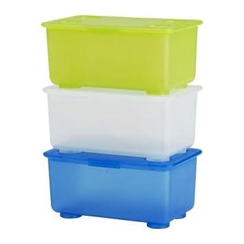 IKEA GLIS Boxen mit Deckel in blau, grün und weiß; 3 Stück: Amazon ...