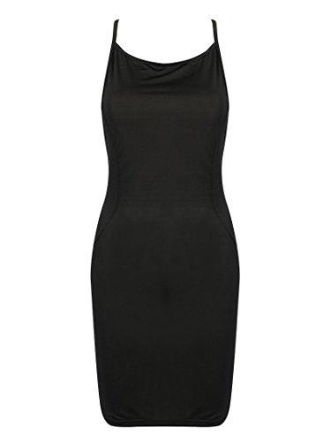 Halter Black Beach Sexy Bodycon Cross Dress Back Clothink Women Strap Plain Black ZB4xq5nwEO