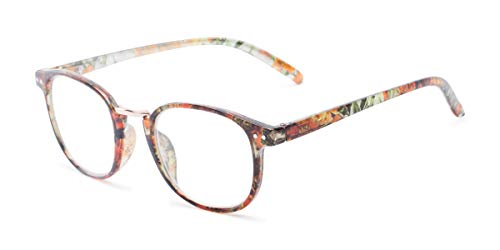 Readers.com Reading Glasses: The Brie Reader, Metal Round Style for Women - Orange/Black Floral, 1.50