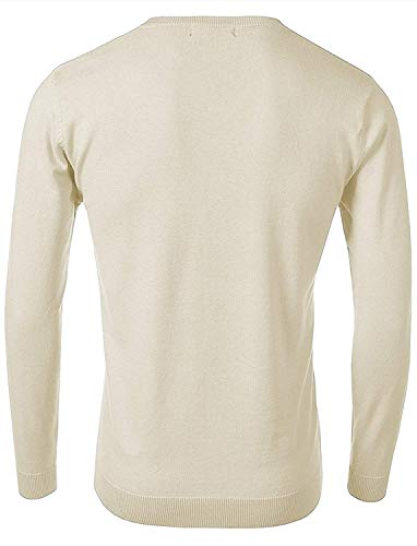 n Men's Long-Sleeve Basic V-Neck Sweater,Large,Cream ()
