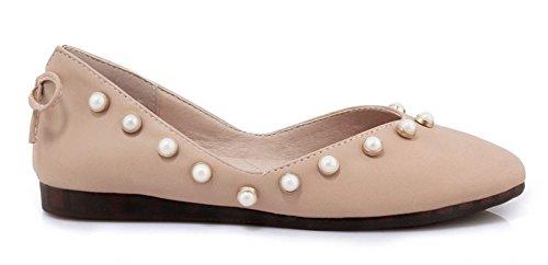 Damen Basic Kunstleder Quadratishe Zehen Low Cut Perlen Schleife Flach Ballerinas Pink 31 EU Aisun XCT6F