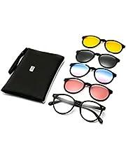 نظارة الفتيات / النساء مصنوعة من الإطار الأساسي مع أربعة إطارات مغناطيسية إضافية بألوان مختلفة نظارات شمسية مستقطبة داخل حقيبة جلدية