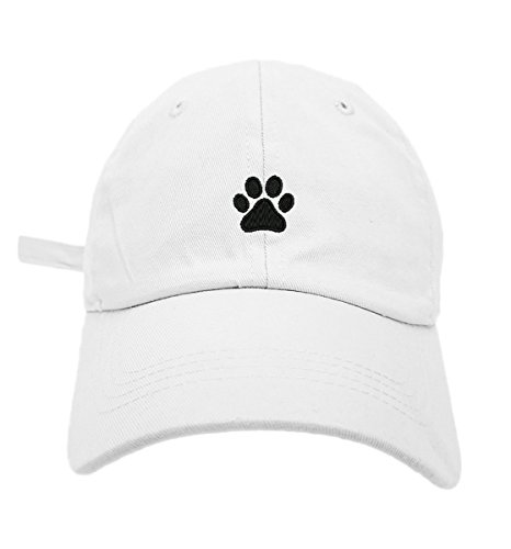 TheMonsta Dog Paw Style Dad Hat Washed Cotton Polo Baseball Cap (White)