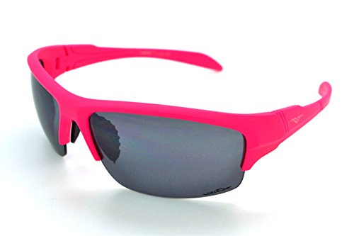Vertx léger durable pour homme et pour femme Athletic Sport Wrap Lunettes de soleil Cyclisme Course à Pied W/étui microfibre gratuit Pink Frame - Smoke Lens