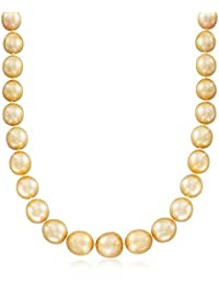 Certified 10-13mm Cultured Golden South Sea Pearl Necklace With 14kt Yellow Gold
