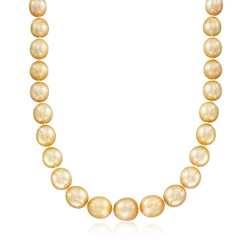 Ross-Simons Certified 10-13mm Cultured Golden South Sea Pearl Necklace With 14kt Yellow ()
