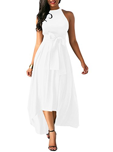 Annystore Women Plain Sleeveless Elegant High Low Asymmetrical Maxi Dress with Belt White XL