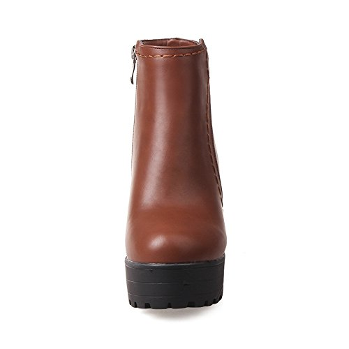 BalaMasa Boots Platform Brown Leather Chunky Zipper Heels Girls Imitated PrpTqwP