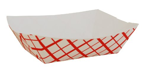 Southern Champion Tray 0413 #100 Southland Red Check Paperboard Food Tray / Boat / Bowl, 1 lb. Capacity (Case of 1000)