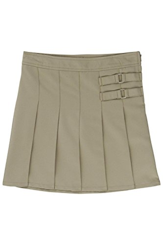 French Toast Little Girls' Toddler Two-Tab Pleated Scooter, Khaki, 3T by French Toast