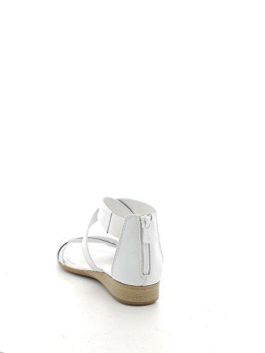 Sandalo incrociato bianco con zeppina N. 37