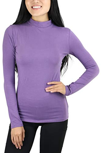 ToBeInStyle Women's Mock Neck Long Sleeve Classic Top - Lilac Grey - Medium