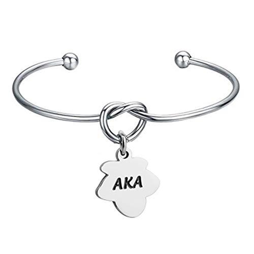 BNQL Alpha Kappa Alpha Sorority Bracelet Ivy Leaf Charm Knot Cuff Bracelet (AKA Knot ()